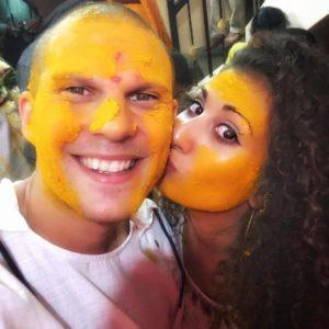Couple celebrating their first ever Haldi in Mumbai